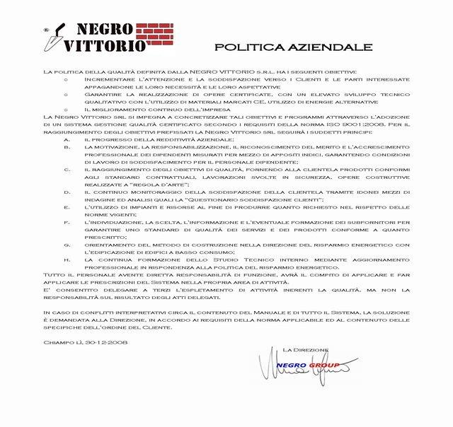 Politica Aziendale 2010